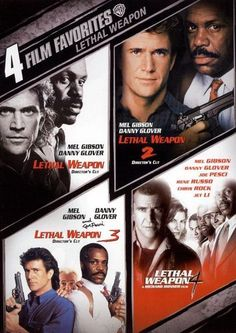 4 film favorites-lethal weapon disc) action/adventure contains: lethal weapon director's cut, lethal weapon 2 director's cut, lethal weapon 3 director's cut and lethal Love Movie, Movie Tv, Movie Shelf, Hard Movie, Alfred Hitchcock, Lethal Weapon 2, Marvel Comics, Digital Film, Blockbuster Movies