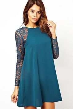 So Cute! Love the Color! Blue O-neck Long Sleeves Lace Splicing Chiffon Dress #Blue #Lace #Party_Dress