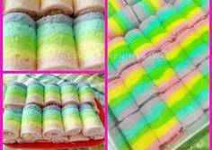 Rainbow Gulung Ekonomis Recipes Using Cake Mix, Cake Recipes, Brownies Kukus, Rainbow Roll, Resep Cake, Steamed Cake, Takoyaki, Indonesian Food, Indonesian Recipes