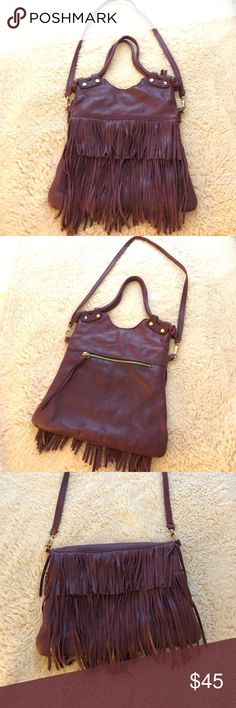Purple fringe satchel bag Purple fringe satchel bag with long strap-genuine leather. Great condition Bags