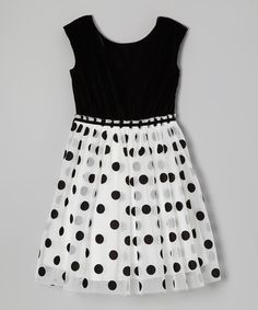 Take a look at this Ivory & Black Velvet Polka Dot Dress on zulily today!