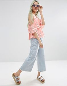 Image 4 of ASOS Tiered Cold Shoulder Top In Stripe