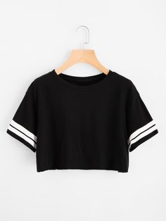 SheIn offers Varsity Striped Crop Tee & mo - Fashionable T Shirt - Ideas of Fashionable T Shirt - Shop Varsity Striped Crop Tee online. SheIn offers Varsity Striped Crop Tee & more to fit your fashionable needs. Tween Fashion, Girls Fashion Clothes, Teen Fashion Outfits, Outfits For Teens, Girl Fashion, Fashion Shirts, Style Fashion, Ootd Fashion, Teenage Outfits