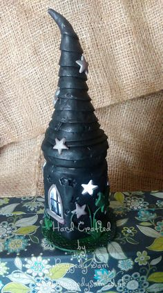 witch mystical tower polymer clay night light