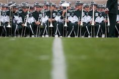 The Michigan State marching band sits on the sidelines Sept. 21, 2013, at Notre Dame Stadium in South Bend, Ind. The Fighting Irish defeated...