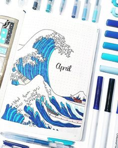 Amazing April cover by @bulletbycait featuring a homage to Hokusais Great Wave  I love this painting so much its my desktop wallpaper haha! - - Link to our store is in bio: @notebook_therapy - - #notebooktherapy #hokusai #bujo #bulletjournal #bulletjournaling #bulletjournallove #bujocommunity #plannergeek #plannersupplies #weeklyspread #stationery #stationeryaddict #studyblr #studygram