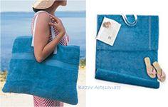 Toalha de Praia - Bolsa... Transforme toalhas de praia em uma esteira e uma bolsa.     1 Toalha de praia + 1 Toalha de rosto + Fita de gorgurão para as alças  Bazar Artesanato no Facebook