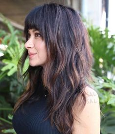 Best Ideas for Layered Haircuts with Bangs - Trend Frisuren Haircut For Thick Hair, Long Hair With Bangs, Haircuts For Long Hair, Long Hair Cuts, Thick Bangs, Hair Bangs, Bangs Hairstyle, Straight Bangs, Braided Hairstyle