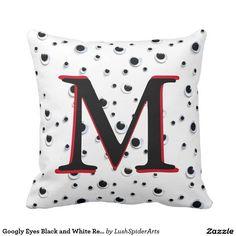 Googly Eyes Black and White Red Trendy Monogram Throw Pillow
