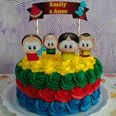 Bolo turma da monica Mini Tortillas, Fiesta Party, Girl Cakes, Pretty Cakes, Deli, Bento, Party Themes, Watermelon, Birthdays
