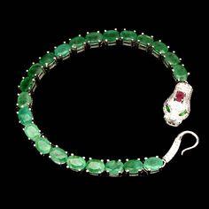 925 Sterling Silver AAA Emerald Cobra Bracelet 14K White Gold
