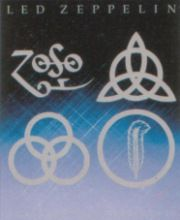 The 4 symbols each standing for a Led Zeppelin member. Left to Right: Jimmy Page, John Paul Jones. Left to Right: John Bonham, Robert Plant Jimmy Page, Jimmy Jimmy, L Ron Hubbard, Aleister Crowley, John Paul Jones, John Bonham, Robert Plant, Led Zeppelin, Satan