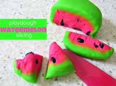 Watermelon Playdough Slicing  -  Pinned by @PediaStaff – Please Visit http://ht.ly/63sNt for all our pediatric therapy pins