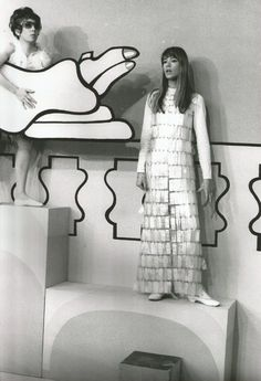 Francoise Hardy wearing Paco Rabanne for an appearance on French television