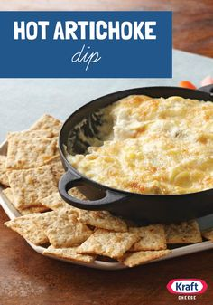 Hot Artichoke Dip — In our experience, this cheesy hot appetizer goes fast! In the unlikely event of leftovers, refrigerate in an airtight container for up to 3 days.