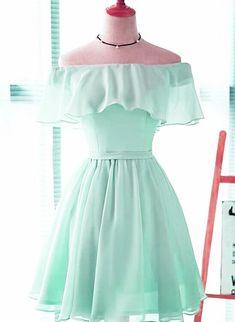 Beautiful Chiffon Mint Green Bridesmaid Dress, Short Party Dress 2020 Beautiful Chiffon Mint Green B Pretty Prom Dresses, Grad Dresses, Dresses For Teens, Pretty Outfits, Cute Dresses, Beautiful Dresses, Mint Homecoming Dresses, Vintage Party Dresses, Pageant Dresses