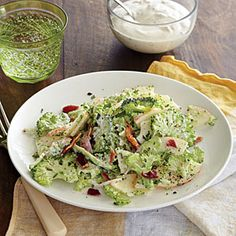 Shaved Broccoli-Apple Salad with Tarragon Dressing and Bacon | Cooking Light #myplate #dairy #veggies #protein #fruit