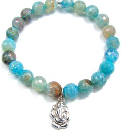 Ganesh Aqua Agate Bracelet - Remover of Obstacles - $35.70 : Yoga Jewelry,Yoga Necklaces,Yoga Bracelets,Yoga Inspired Jewelry, Om Jewelry, Buddhist Jewelry, Namaste Jewelry, Chakra Jewelry, Lotus Jewelry, Gemstone Meaning Jewelry,  Yoga Jewelry of Simple Beauty, Yoga inspired jewelry