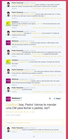 Centauro e Netshoes discutam cliente no Twitter. Alguns disseram que poderia ser publipost. Será?