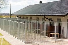 Metal dog kennel buildings are today's choice for canine facilities. Research, plan & price your new kennel building. Metal Dog Kennel, Dog Kennel Cover, Commercial Dog Kennel Ideas, Puppy Pens, Dog Kennel Designs, Dog Playground, Foster Dog, Siberian Husky Puppies, Dog Rooms