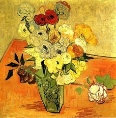 Vincent van Gogh Vase with Roses and Anemones painting for sale - Vincent van Gogh Vase with Roses and Anemones is handmade art reproduction; You can buy Vincent van Gogh Vase with Roses and Anemones painting on canvas or frame. Vincent Van Gogh, Flores Van Gogh, Van Gogh Still Life, Van Gogh Flowers, Van Gogh Arte, Photo Rose, Van Gogh Pinturas, Japanese Vase, Van Gogh Paintings