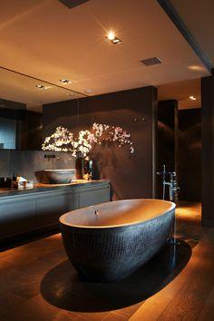 Modern zen #bathroom design with freestanding #tub
