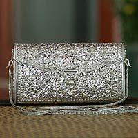 Sterling silver handbag, 'Siamese Honesty'