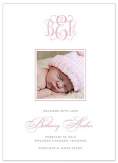 Sweet Welcome - Girl Photo Birth Announcement | Paper & Pearl