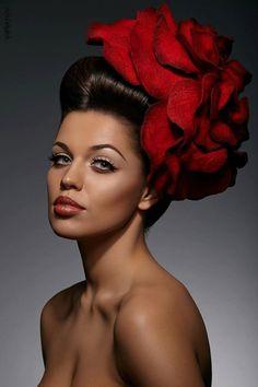 Scarlet Rose fascinator hat with merino wool by EveAndersFashion