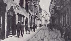 The old tram lines running through via Brera.