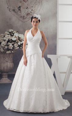 #Valentines #AdoreWe #Dorris Wedding - #Dorris Wedding Sleeveless Appliqued A-Line Halter and Gown With Ruching - AdoreWe.com