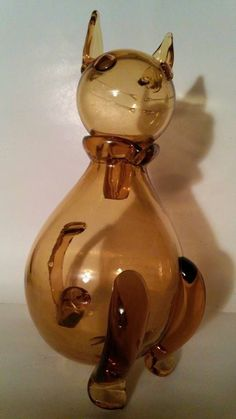Vintage 1950s Extremely Rare Hand Blown Large Cat Decanter Italian Art Glass