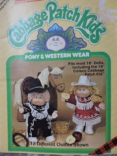 Pony & Western Wear Cabbage Patch Kids Doll Unicorn Doll Vintage 1984 Xavier Roberts Dolls 12 Different Doll Outfits Booklet 7810 Pattern Kids Patterns, Doll Patterns, Vintage Patterns, Clothing Patterns, Western Outfits, Western Wear, Xavier Roberts, Unicorn Doll, Cabbage Patch Kids Dolls
