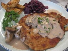 Tried & True: This is an absolutely delicious German meal!! It's mushroom season- add as many as you want- they cook down considerably anyways.  Substitutions / Tips & Tricks:  I used pre-packaged pork cutlets from the grocery store. No need to go all fancy on this recipe.  Add more flour as needed to thicken the sauce. You don't want a watery sauce, but rather a thicker, creamier version.