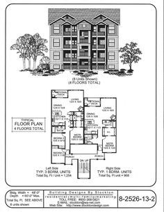 Traditional Style Duplex- Building Designs by Stockton: Plan # 2 ...