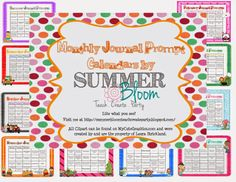 A YEAR of Monthly Journal Prompt Calendars from SummerBloom. Great for Daily 5 and Independent Writing!