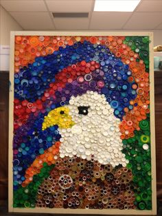 Bottle cap art.  5th grade collaboration.