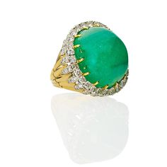Set with a cushion-shaped cabochon cut emerald, weighing approx. by formula, framed by round brilliant cut diamonds in platinum supported by diamond and platinum petals above a fluted galler. Diamond Wedding Rings, Diamond Rings, Diamond Engagement Rings, Druzy Ring, Gemstone Rings, David Webb, Emerald Stone, Cocktail Rings, Shank