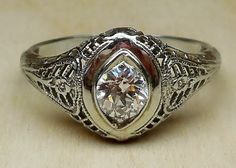 Vintage Antique .50ct Old European Cut Diamond 18k White Gold Engagement Ring 1920's Art Deco Filigree on Etsy, $950.00