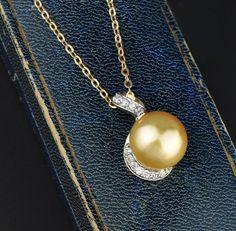 Golden Pearl .30 Carat Diamond Pendant Necklace