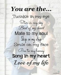 Whether you are looking to woo her or you are missing her, these cute love quotes for her are your best buddy. Check out & share these love quotes with her Cute Love Quotes, Love My Husband Quotes, Soulmate Love Quotes, Cute Couple Quotes, Inspirational Quotes About Love, Love Quotes For Her, Romantic Love Quotes, Love Yourself Quotes, Romantic Poems