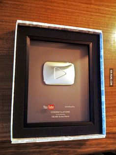 Maybe one day I can put this in my office... YouTube Silver Play Button for 100K Subscribers