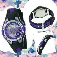 Digital Watch ??PRICE SLASH ?? Purple and black digital ARMITRON watch in excellent condition no scratches and is working rubber like band great for nurses or anyone wore only a few times don't have the box but will be packed carefully upon shipping will ship same day if possible otherwise next day shipping will arrive packed with the utmost importance and a free gift feel free to make an offer this item is not new and has no tags it's a digital sports women chronograph resin strap watch  ??…