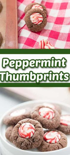 Fudgy chocolate thumbprints are filled with a swirl of peppermint chocolate kisses! The holidays just got sweeter!