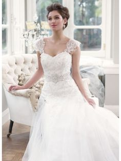 Lace Wedding Dress With Removable Cap Sleeves