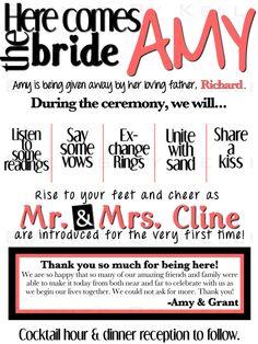Modern/Fun Wedding Program  DIY  Printable by EventsByKelli, $20.00