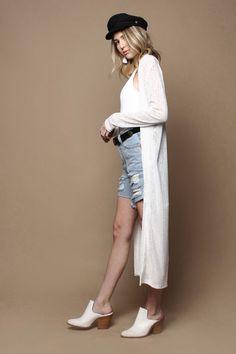Kyle Sheer Mesh Duster Cardigan Jacket - White
