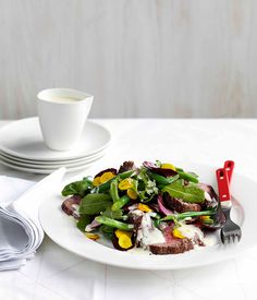 Roast beef, beetroot and wasabi green salad with buttermilk dressing