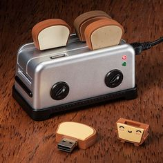 USB Toaster Hub and Thumbdrives    If there's a cuter way to store your info, I defy you to find it!
