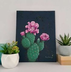 Cactus Fine Art Pink Prickly Pear / Botanical Painting Fine Art Geometric Art Or Cactus Drawing, Cactus Painting, Cactus Art, Cactus Flower, Painting & Drawing, Cactus Plants, Painting Walls, Cacti, Cute Canvas Paintings